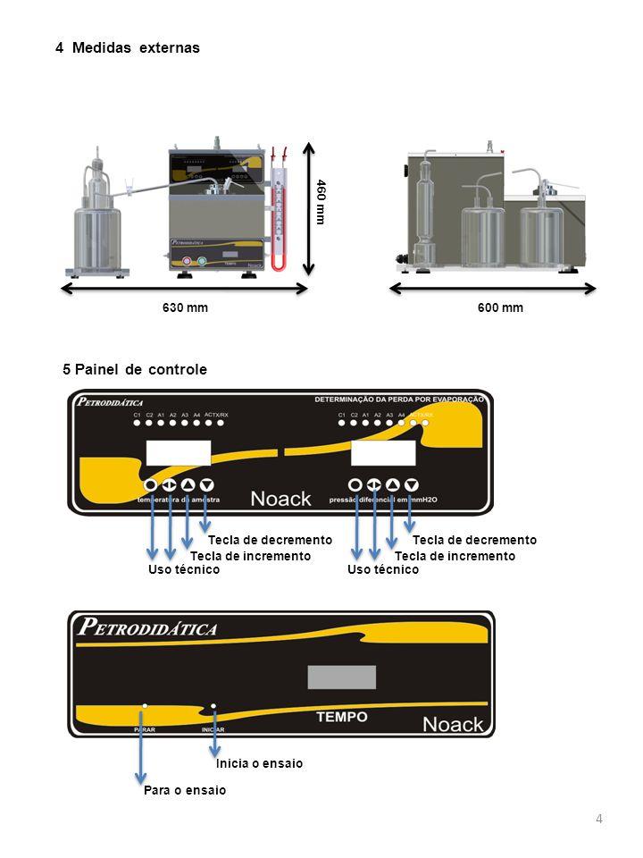 4 Medidas externas 5 Painel de controle 460 mm 630 mm 600 mm