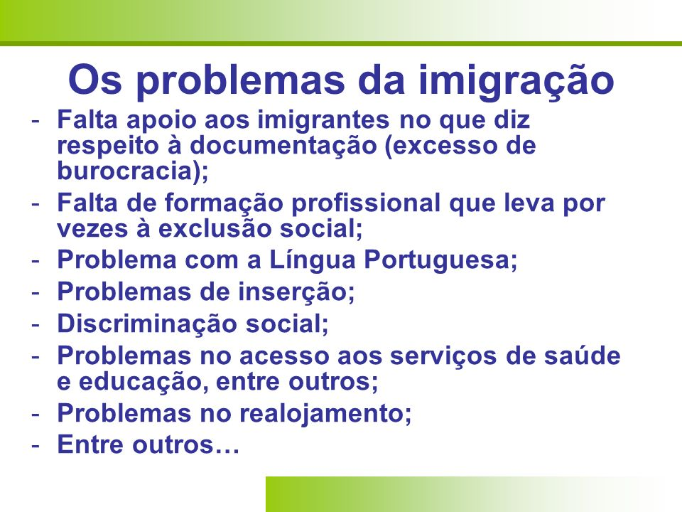 Os problemas da imigração
