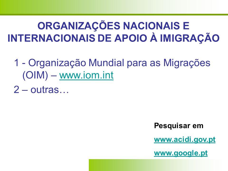 ORGANIZAÇÕES NACIONAIS E INTERNACIONAIS DE APOIO À IMIGRAÇÃO