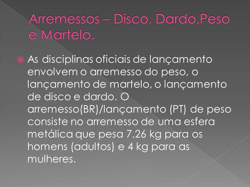 Arremessos – Disco, Dardo,Peso e Martelo.