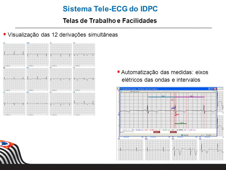 Sistema Tele-ECG do IDPC Telas de Trabalho e Facilidades