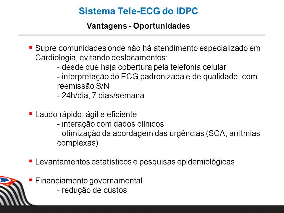 Sistema Tele-ECG do IDPC Vantagens - Oportunidades