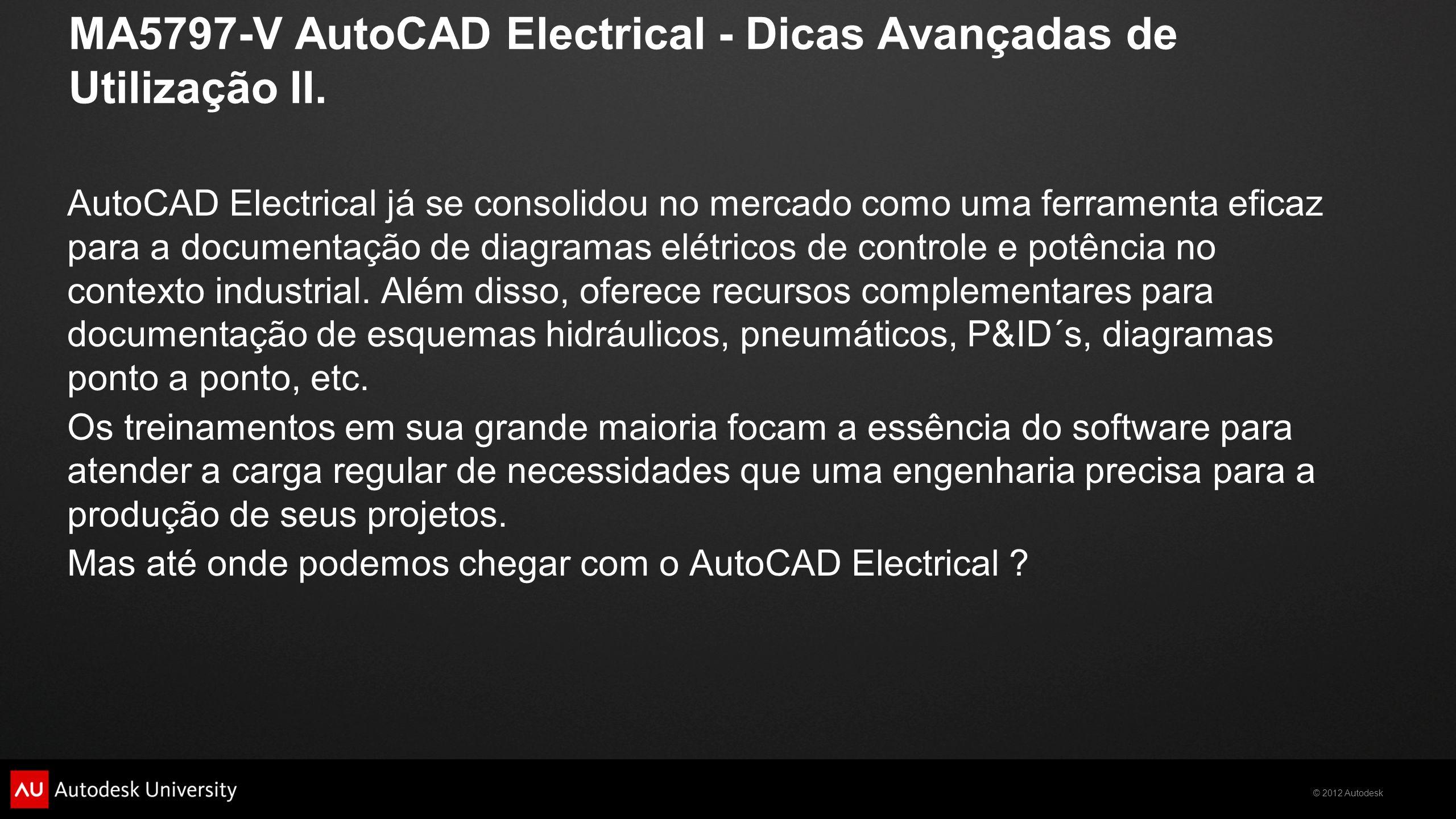 MA5797-V AutoCAD Electrical - Dicas Avançadas de Utilização II.