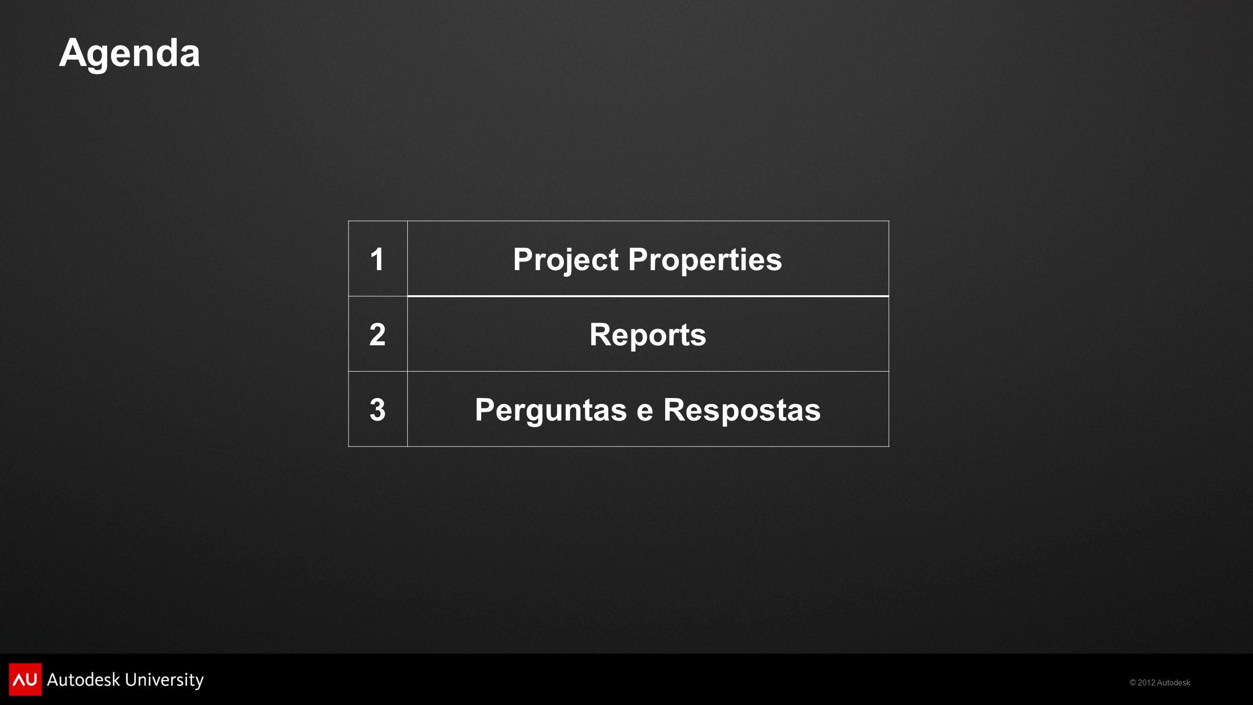 Agenda 1 Project Properties 2 Reports 3 Perguntas e Respostas