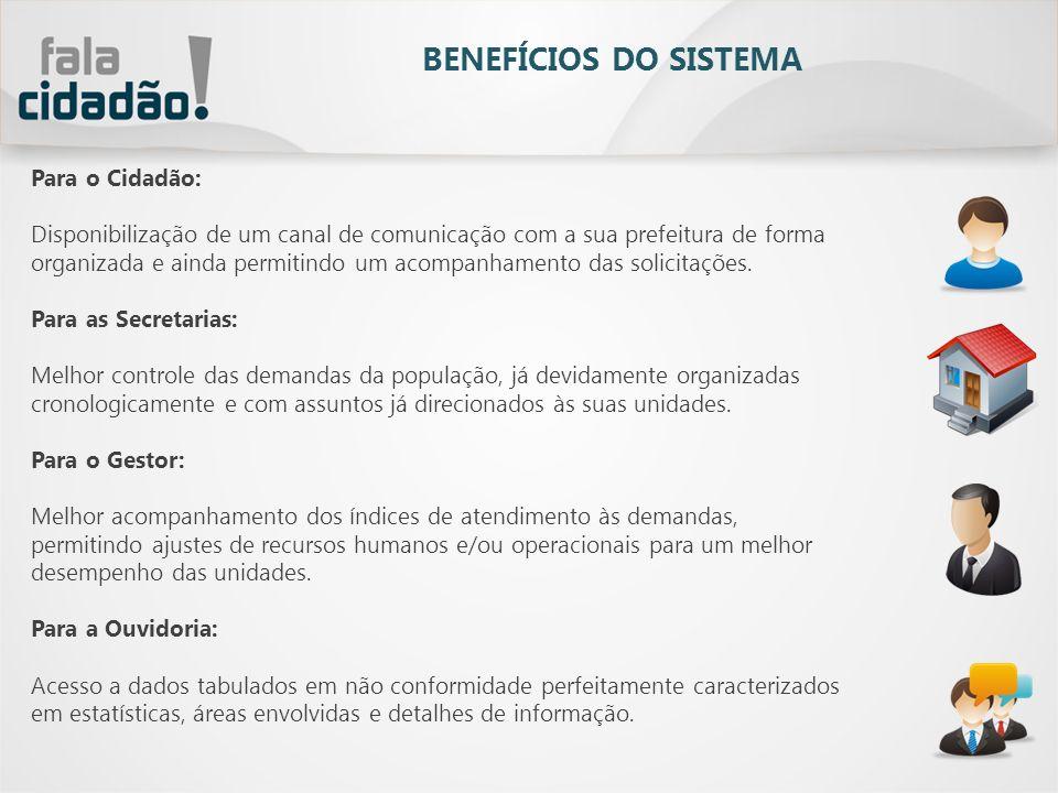 BENEFÍCIOS DO SISTEMA Para o Cidadão: