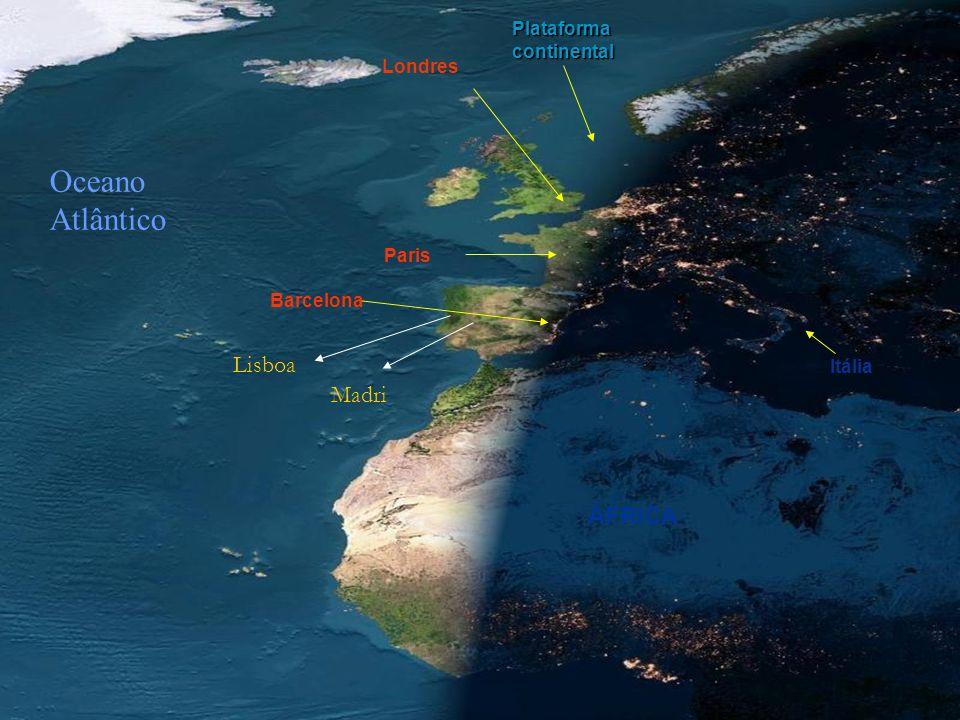 Oceano Atlântico Lisboa Madri ÁFRICA Plataforma continental Londres