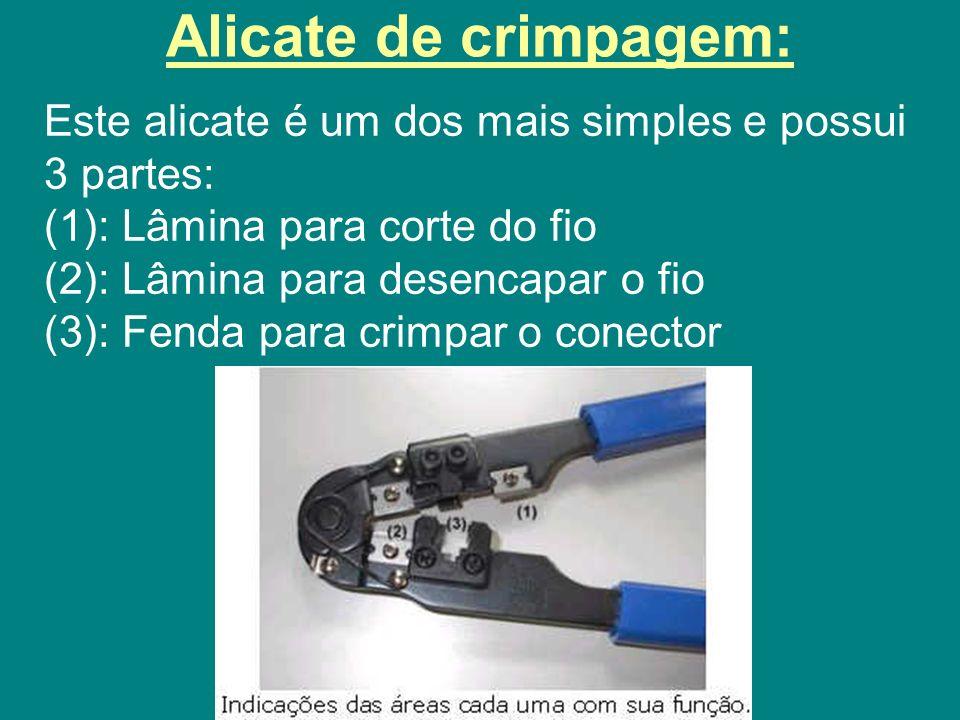 Alicate de crimpagem: Este alicate é um dos mais simples e possui 3 partes: (1): Lâmina para corte do fio.