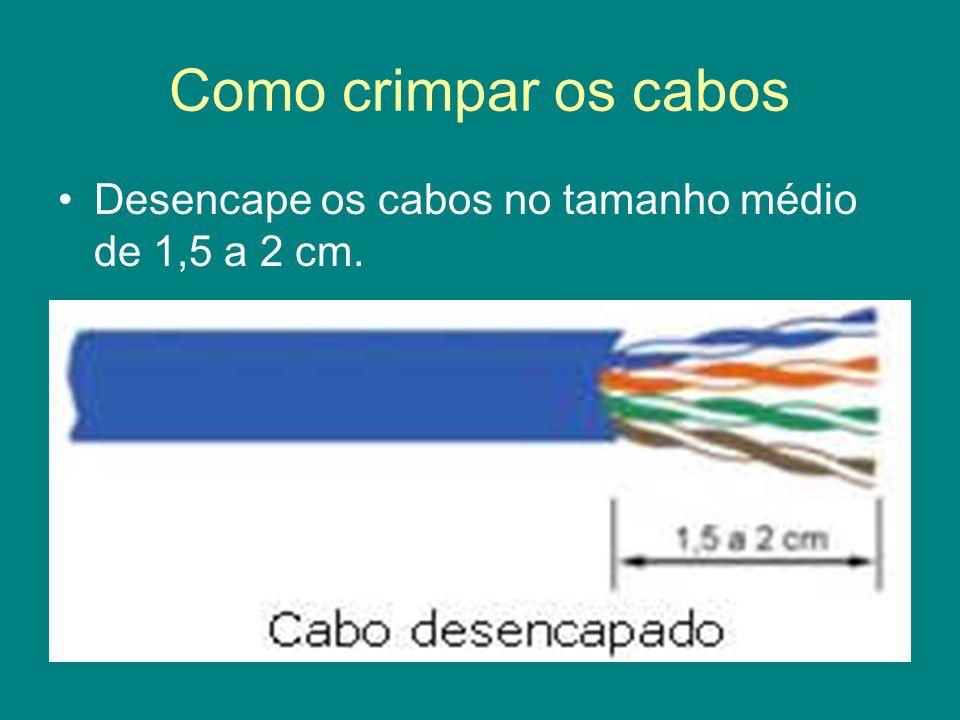 Como crimpar os cabos Desencape os cabos no tamanho médio de 1,5 a 2 cm.