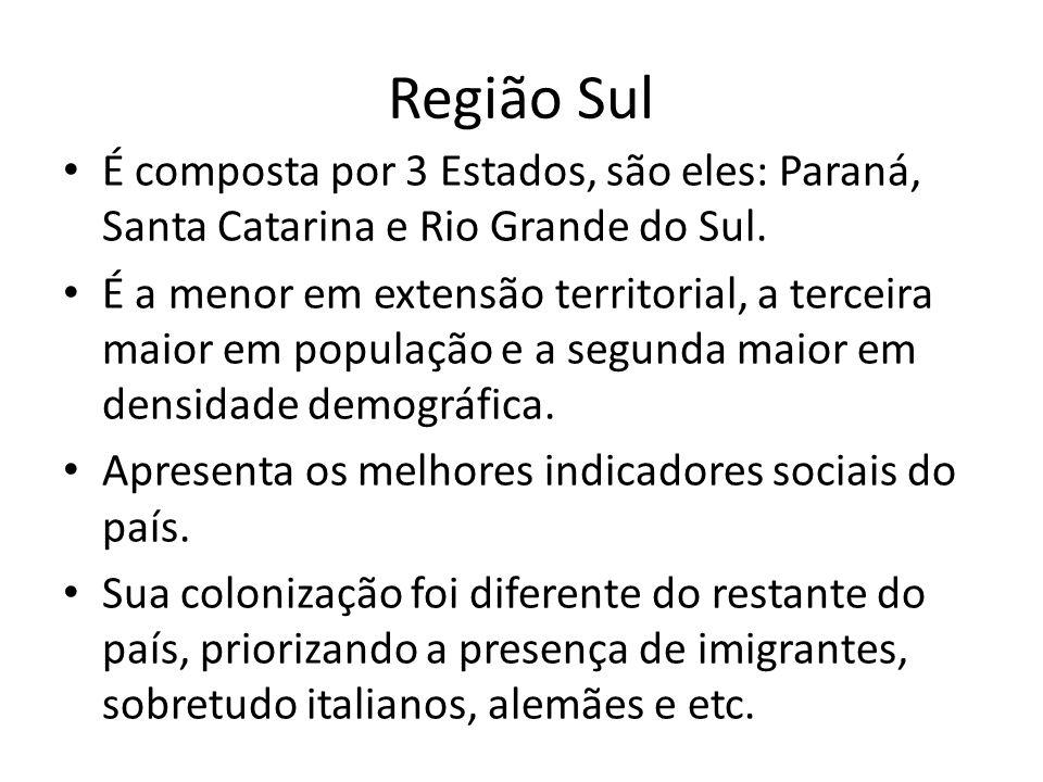 Região Sul É composta por 3 Estados, são eles: Paraná, Santa Catarina e Rio Grande do Sul.