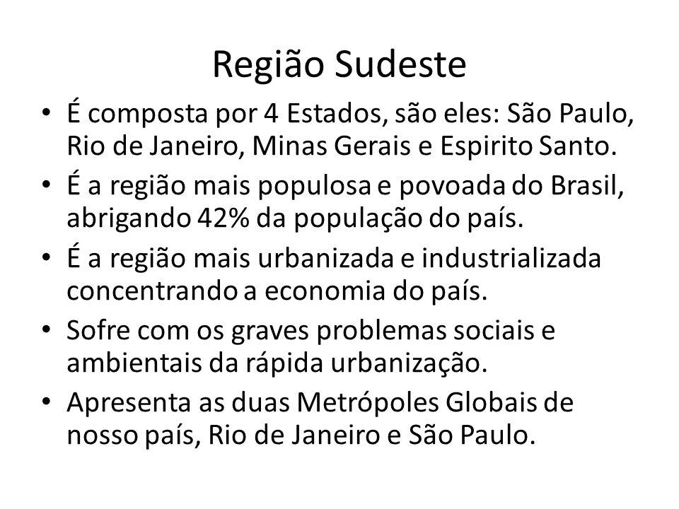 Região Sudeste É composta por 4 Estados, são eles: São Paulo, Rio de Janeiro, Minas Gerais e Espirito Santo.