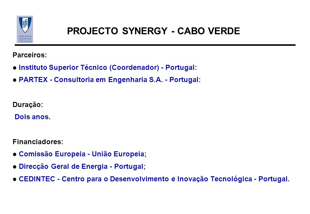 PROJECTO SYNERGY - CABO VERDE