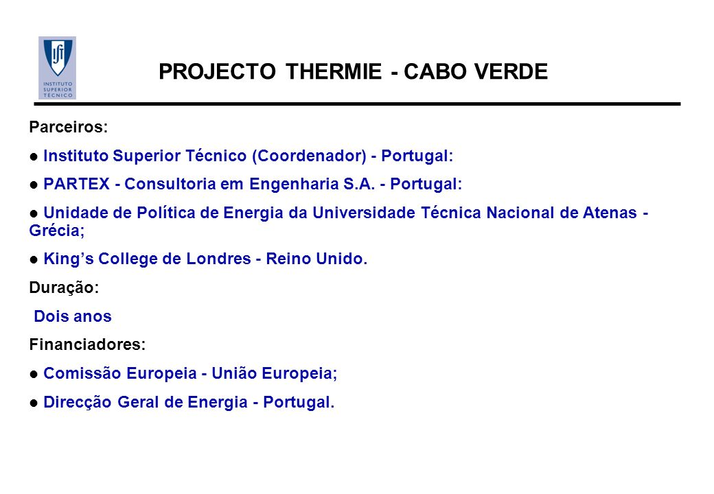 PROJECTO THERMIE - CABO VERDE