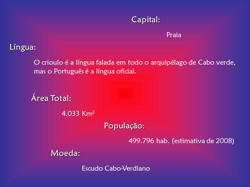 Capital: Praia. Língua: O crioulo é a língua falada em todo o arquipélago de Cabo verde, mas o Português é a língua oficial.