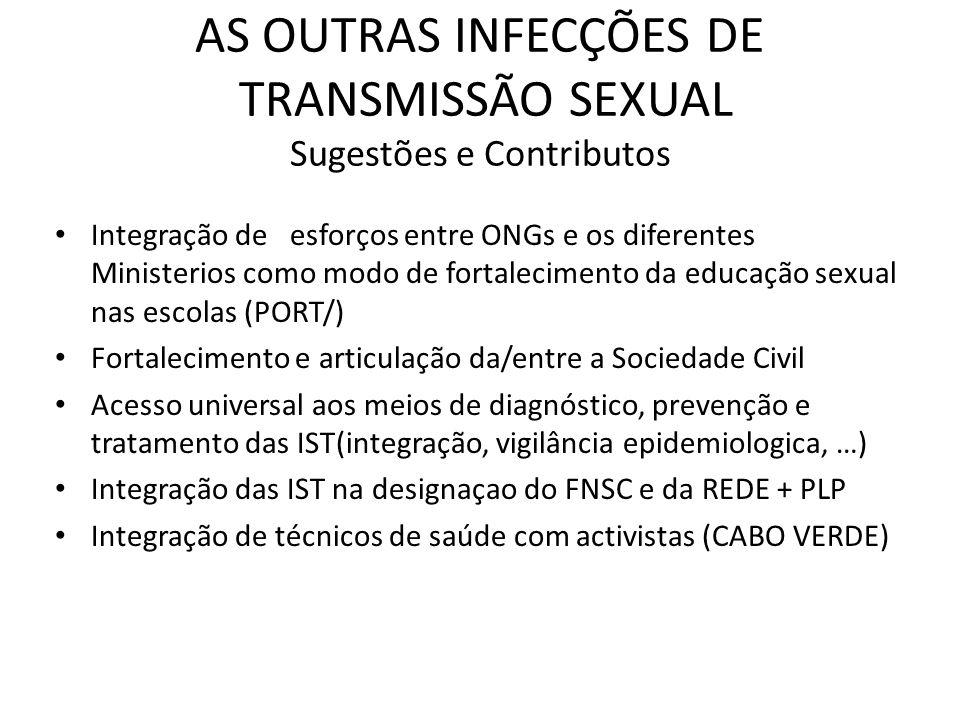 AS OUTRAS INFECÇÕES DE TRANSMISSÃO SEXUAL Sugestões e Contributos