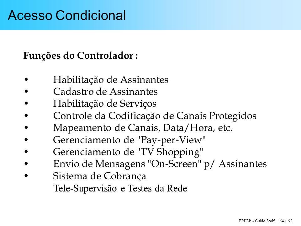Acesso Condicional Funções do Controlador : Habilitação de Assinantes