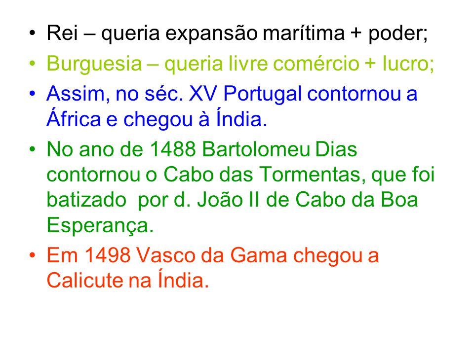 Rei – queria expansão marítima + poder;