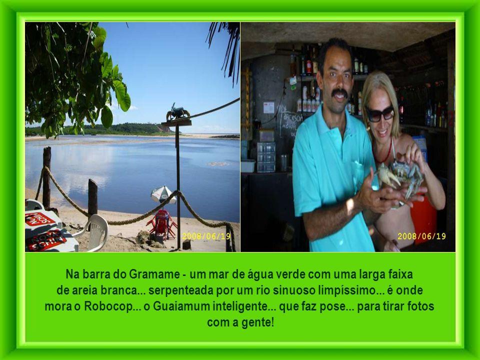 Na barra do Gramame - um mar de água verde com uma larga faixa
