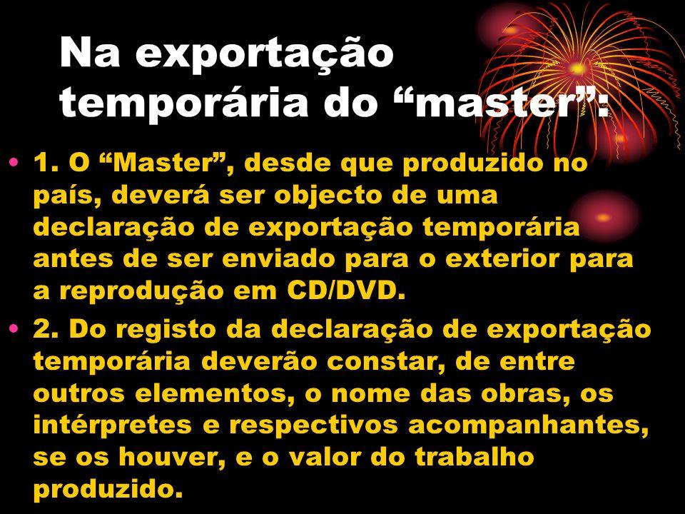 Na exportação temporária do master :