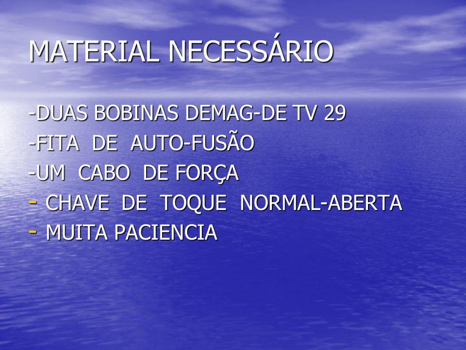 MATERIAL NECESSÁRIO -DUAS BOBINAS DEMAG-DE TV 29 -FITA DE AUTO-FUSÃO