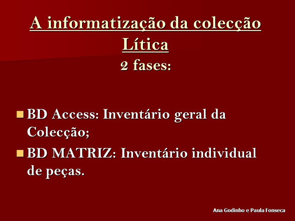A informatização da colecção Lítica 2 fases: