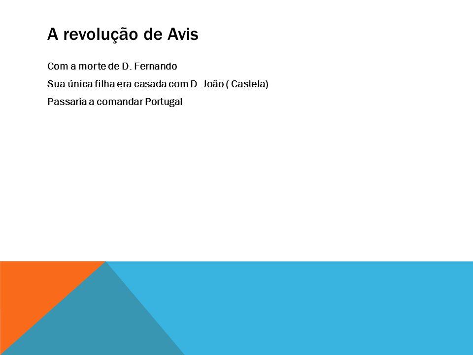 A revolução de Avis Com a morte de D. Fernando Sua única filha era casada com D.