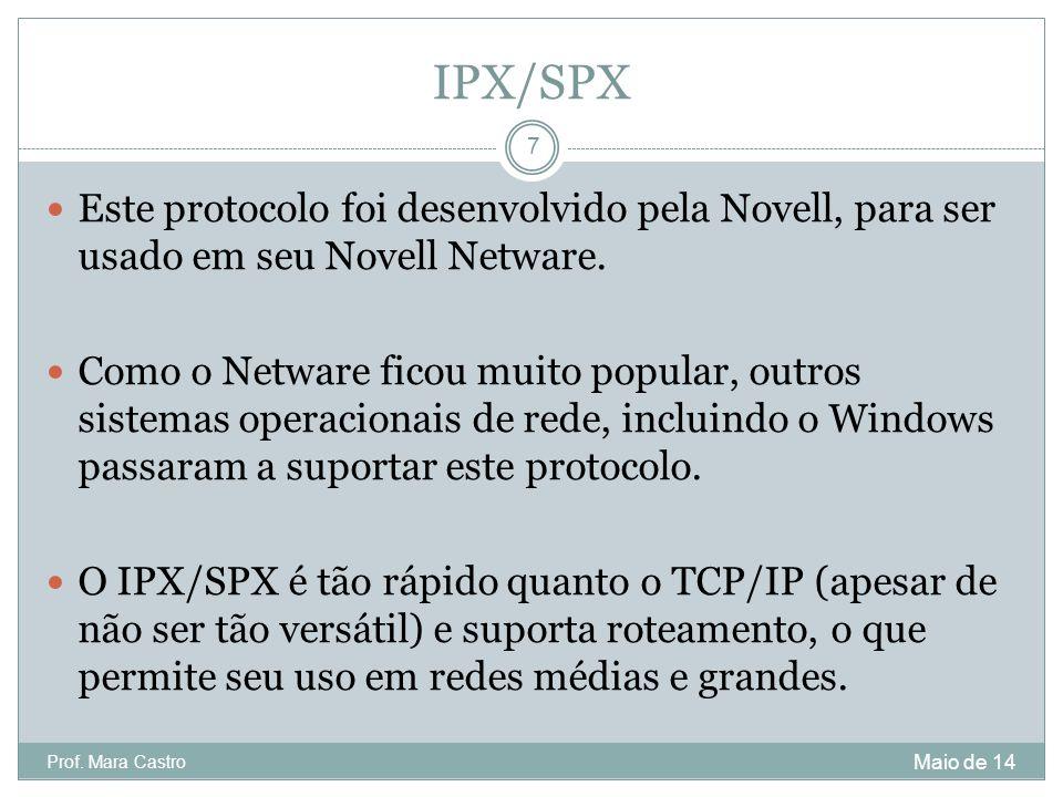 IPX/SPX Este protocolo foi desenvolvido pela Novell, para ser usado em seu Novell Netware.