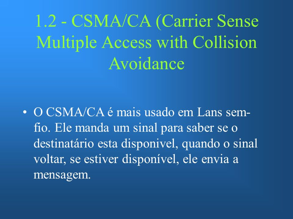 1.2 - CSMA/CA (Carrier Sense Multiple Access with Collision Avoidance