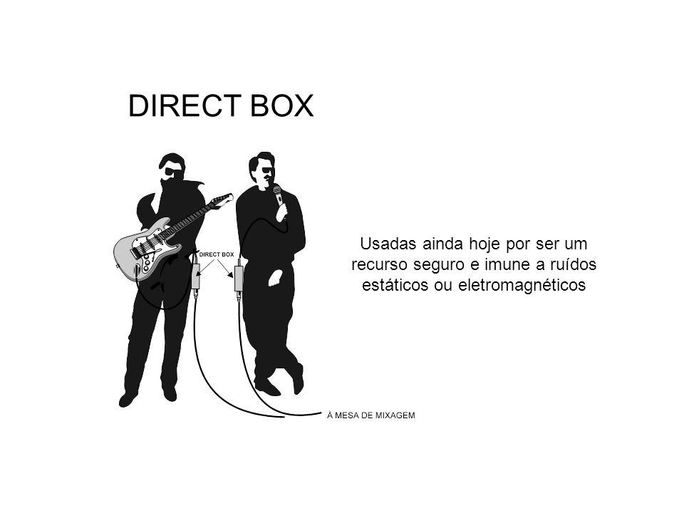 DIRECT BOX Usadas ainda hoje por ser um recurso seguro e imune a ruídos estáticos ou eletromagnéticos.