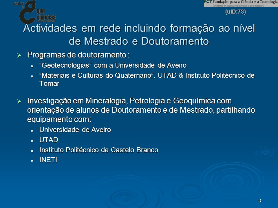 Actividades em rede incluindo formação ao nível de Mestrado e Doutoramento