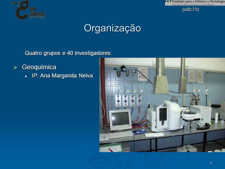 Organização Geoquímica Quatro grupos e 40 investigadores: