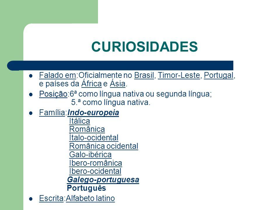 CURIOSIDADES Falado em:Oficialmente no Brasil, Timor-Leste, Portugal, e países da África e Ásia.