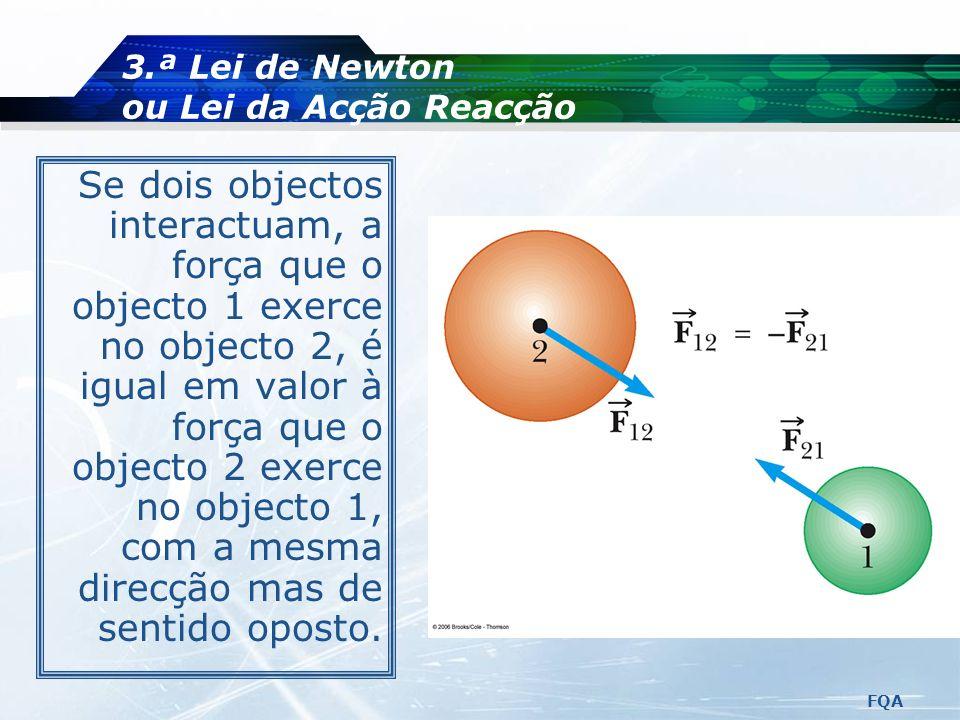 3.ª Lei de Newton ou Lei da Acção Reacção
