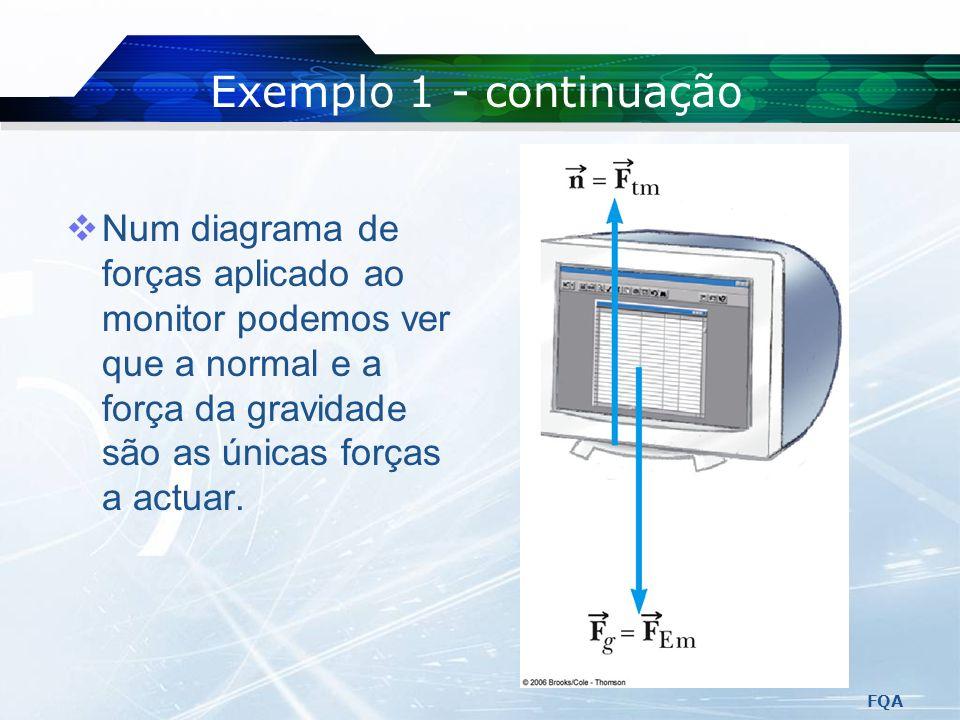 Exemplo 1 - continuação Num diagrama de forças aplicado ao monitor podemos ver que a normal e a força da gravidade são as únicas forças a actuar.