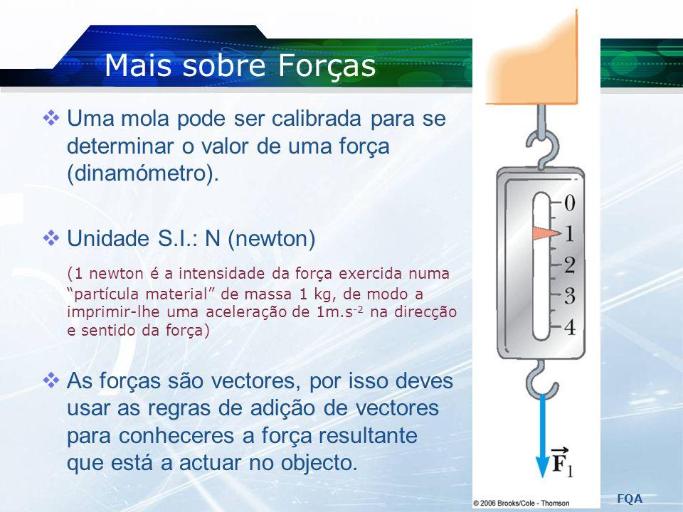 Mais sobre Forças Uma mola pode ser calibrada para se determinar o valor de uma força (dinamómetro).