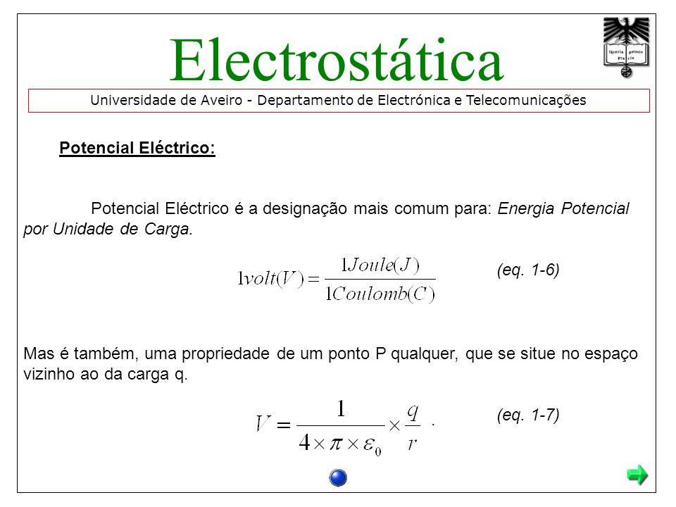 Electrostática Potencial Eléctrico: