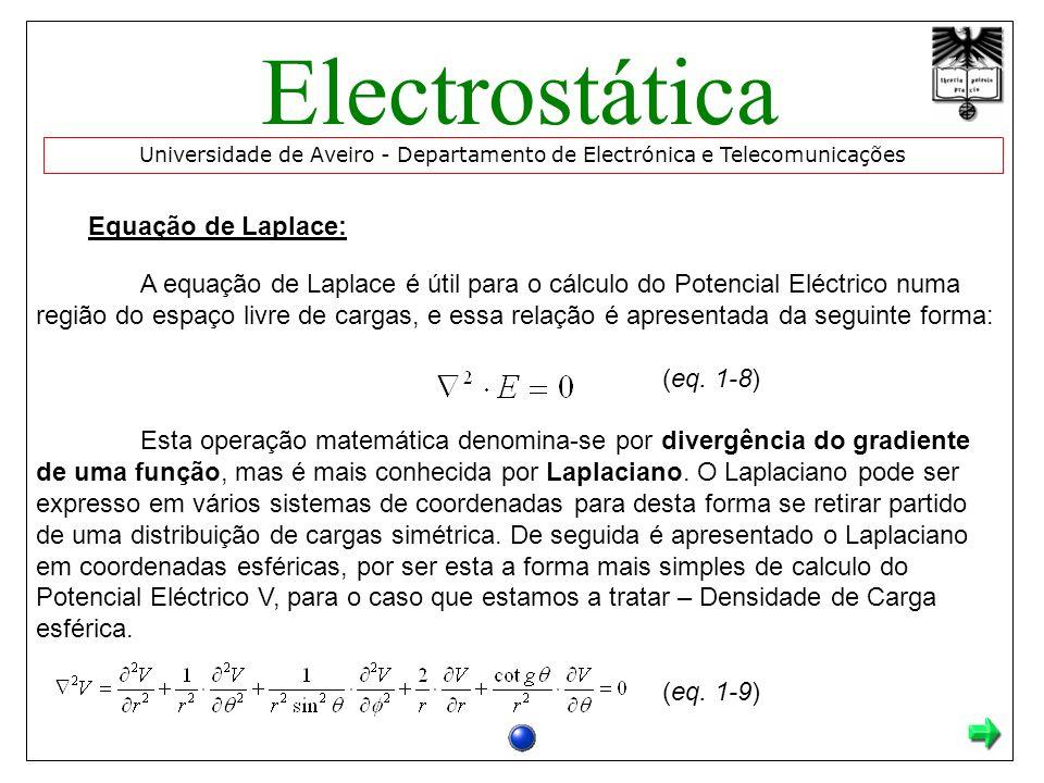 Electrostática Equação de Laplace: