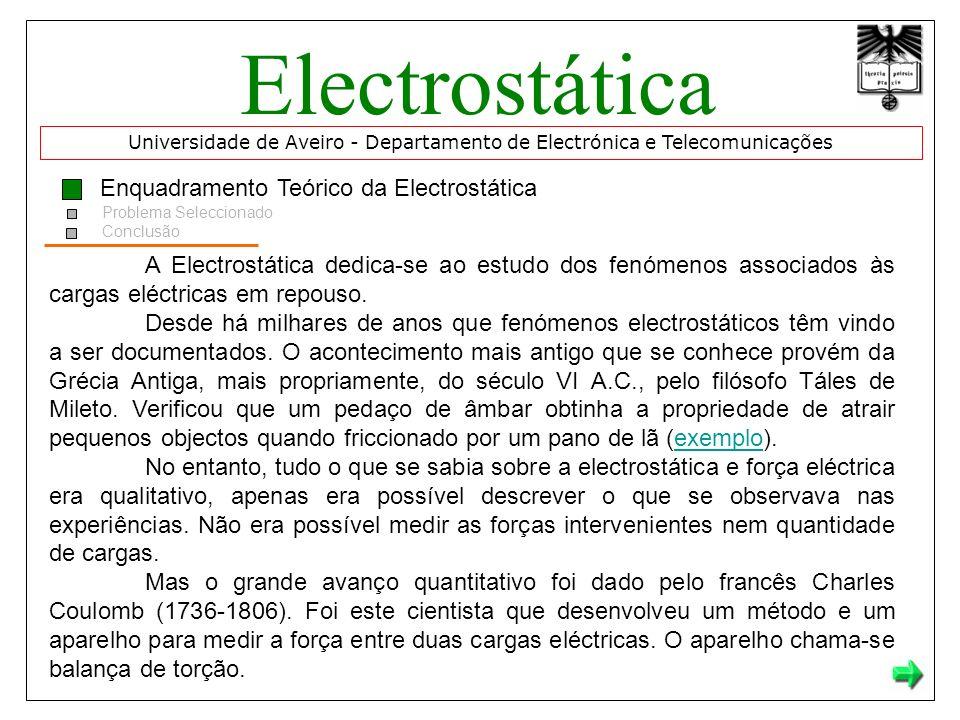 Electrostática Enquadramento Teórico da Electrostática