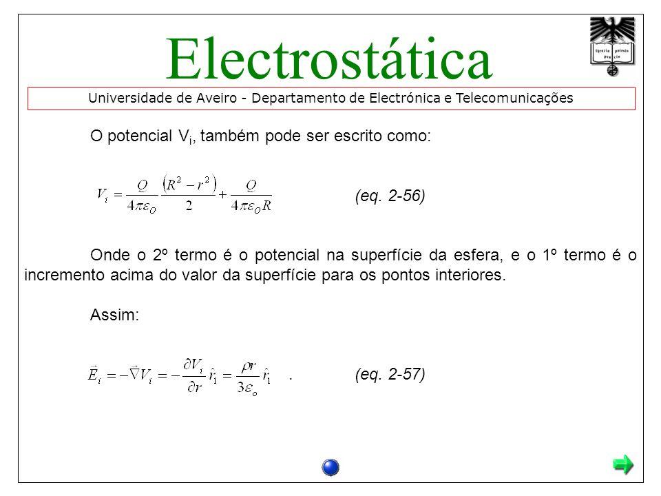 Electrostática O potencial Vi, também pode ser escrito como: