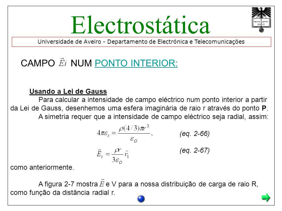 Electrostática CAMPO NUM PONTO INTERIOR: Usando a Lei de Gauss