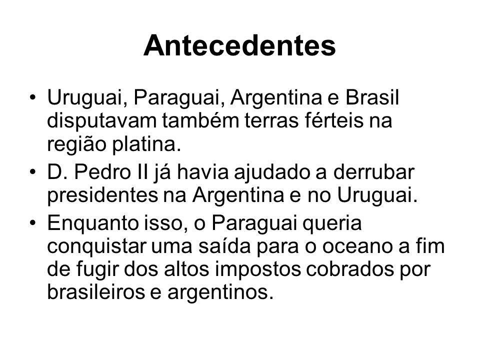 Antecedentes Uruguai, Paraguai, Argentina e Brasil disputavam também terras férteis na região platina.