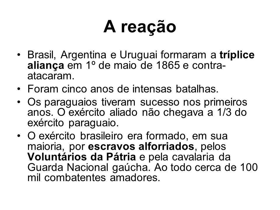 A reação Brasil, Argentina e Uruguai formaram a tríplice aliança em 1º de maio de 1865 e contra-atacaram.