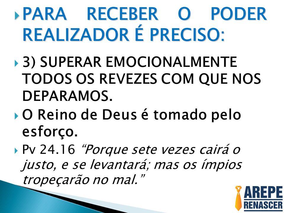 PARA RECEBER O PODER REALIZADOR É PRECISO: