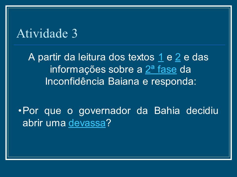Atividade 3 A partir da leitura dos textos 1 e 2 e das informações sobre a 2ª fase da Inconfidência Baiana e responda: