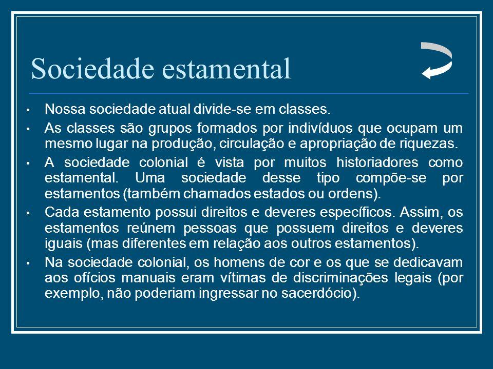Sociedade estamental Nossa sociedade atual divide-se em classes.
