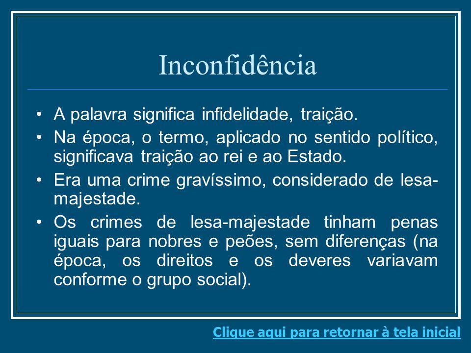 Inconfidência A palavra significa infidelidade, traição.