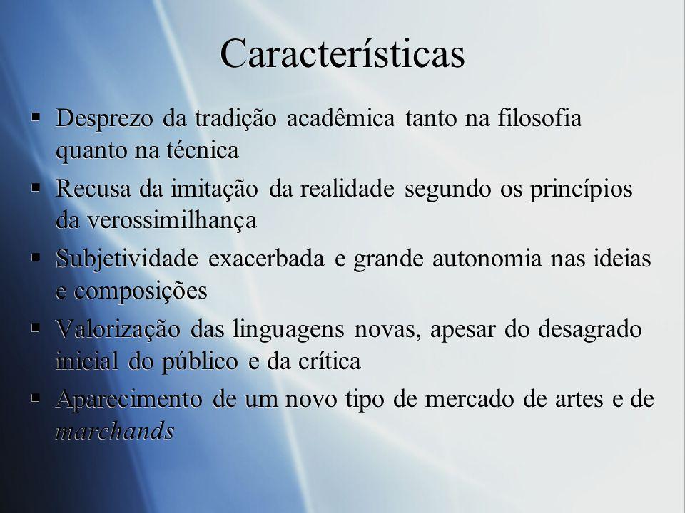 Características Desprezo da tradição acadêmica tanto na filosofia quanto na técnica.