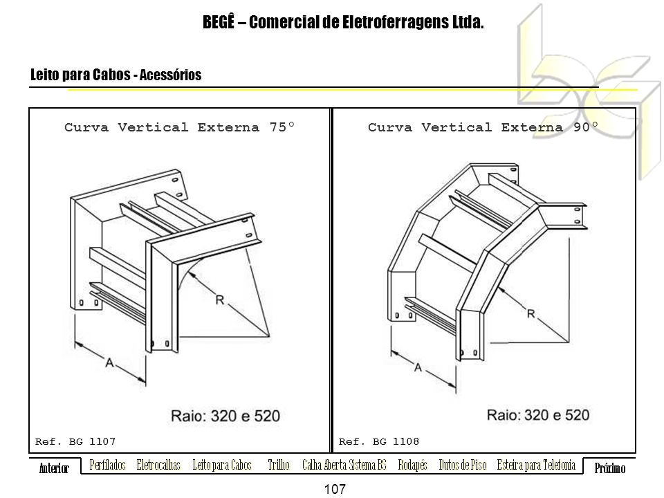 Curva Vertical Externa 75º Curva Vertical Externa 90º