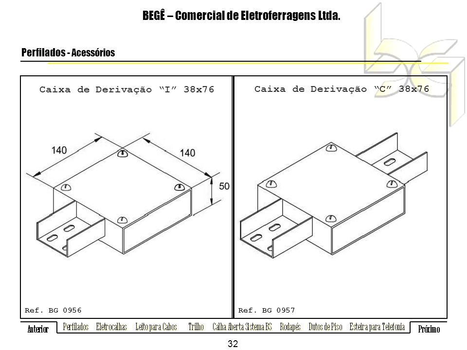 Caixa de Derivação I 38x76 Caixa de Derivação C 38x76