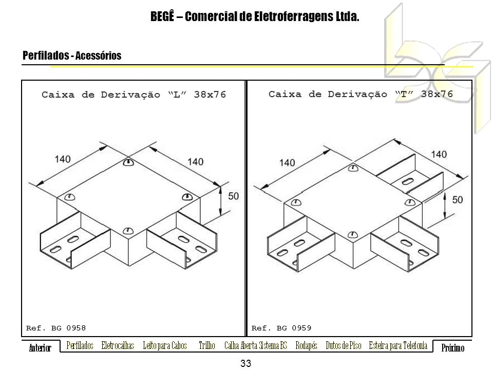 Caixa de Derivação L 38x76 Caixa de Derivação T 38x76