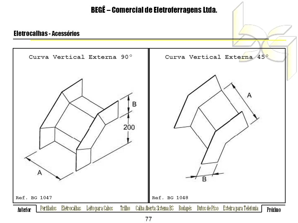 Curva Vertical Externa 90º Curva Vertical Externa 45º